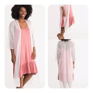 Ivory  Mesh Cover Up Duster Small Dots